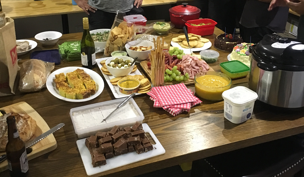 Potluck dinners at our HQ